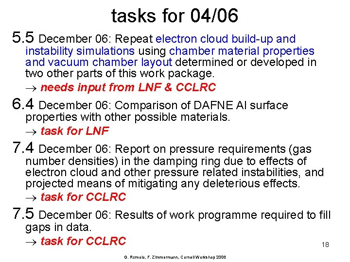tasks for 04/06 5. 5 December 06: Repeat electron cloud build-up and instability simulations