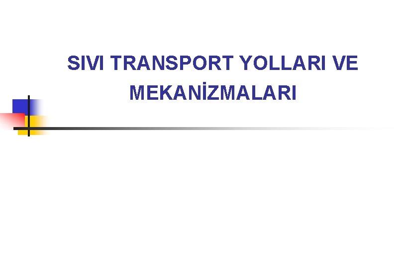 SIVI TRANSPORT YOLLARI VE MEKANİZMALARI