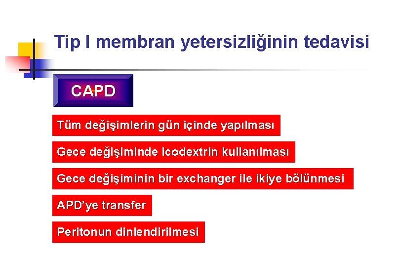 Tip I membran yetersizliğinin tedavisi CAPD Tüm değişimlerin gün içinde yapılması Gece değişiminde icodextrin
