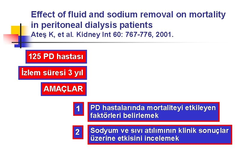 Effect of fluid and sodium removal on mortality in peritoneal dialysis patients Ateş K,