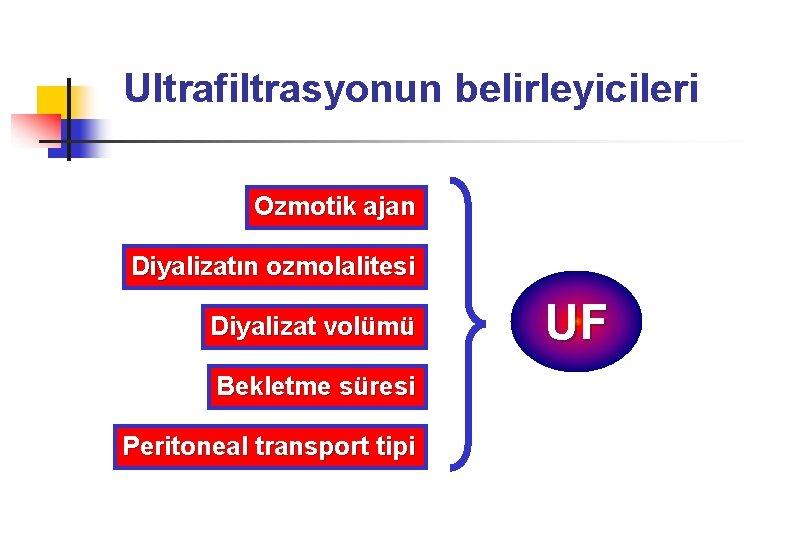 Ultrafiltrasyonun belirleyicileri Ozmotik ajan Diyalizatın ozmolalitesi Diyalizat volümü Bekletme süresi Peritoneal transport tipi UF