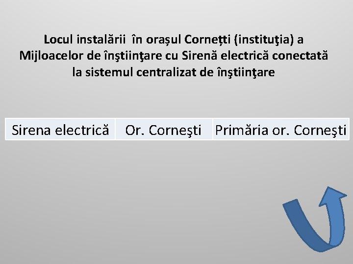 Locul instalării în orașul Cornețti (instituţia) a Mijloacelor de înştiinţare cu Sirenă electrică conectată