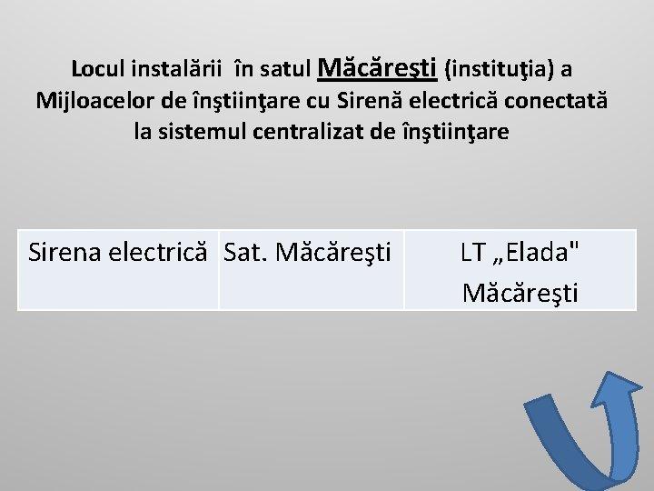 Locul instalării în satul Măcăreşti (instituţia) a Mijloacelor de înştiinţare cu Sirenă electrică conectată