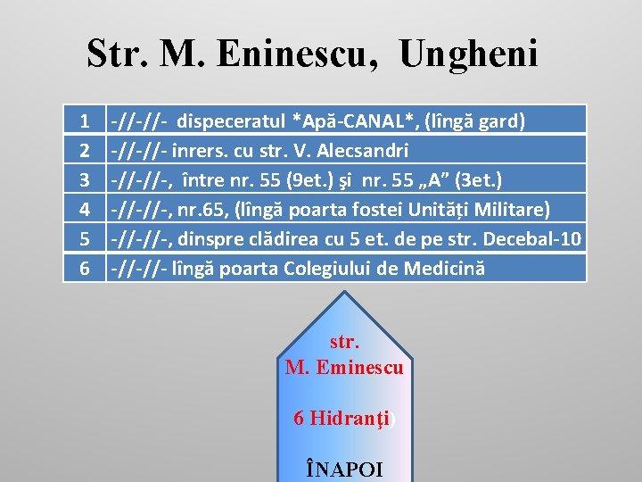 Str. M. Eninescu, Ungheni 1 2 3 4 5 6 -//-//- dispeceratul *Apă-CANAL*, (lîngă
