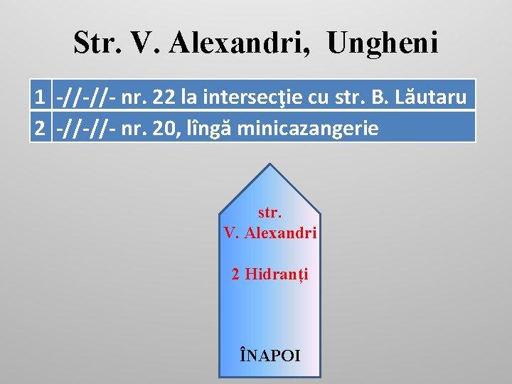 Str. V. Alexandri, Ungheni 1 -//-//- nr. 22 la intersecţie cu str. B. Lăutaru