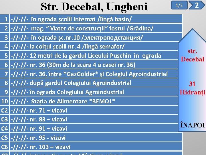 Str. Decebal, Ungheni 1 2 3 4 5 6 7 8 9 10 C
