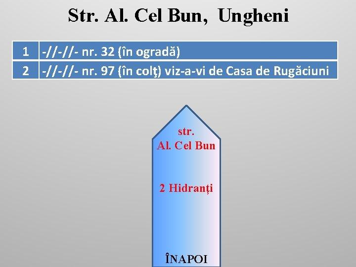 Str. Al. Cel Bun, Ungheni 1 -//-//- nr. 32 (în ogradă) 2 -//-//- nr.