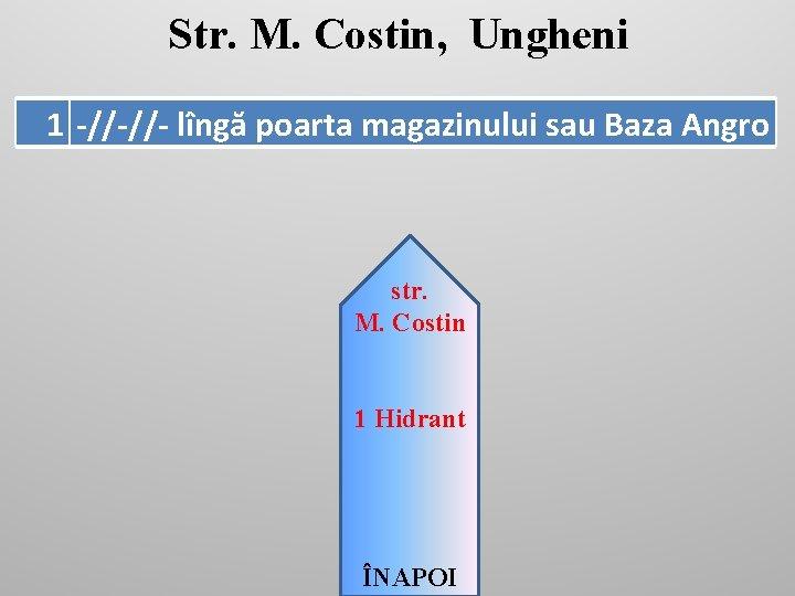 Str. M. Costin, Ungheni 1 -//-//- lîngă poarta magazinului sau Baza Angro str. M.