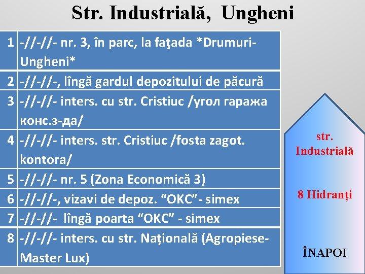 Str. Industrială, Ungheni 1 -//-//- nr. 3, în parc, la faţada *Drumuri. Ungheni* 2