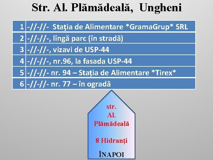 Str. Al. Plămădeală, Ungheni 1 2 3 4 5 6 -//-//- Staţia de Alimentare