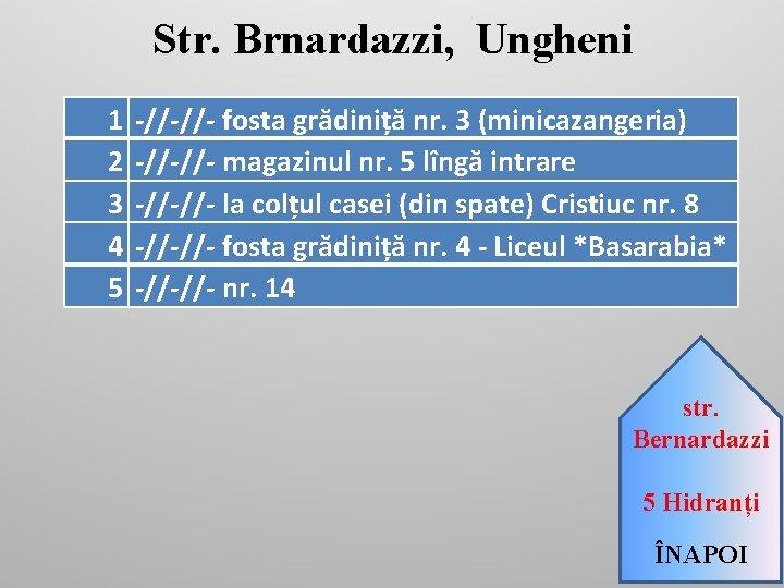 Str. Brnardazzi, Ungheni 1 2 3 4 5 -//-//- fosta grădiniță nr. 3 (minicazangeria)