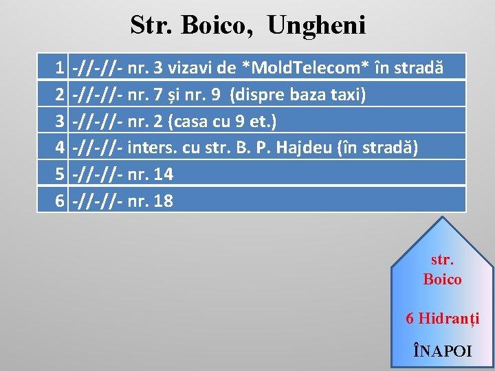 Str. Boico, Ungheni 1 2 3 4 5 6 -//-//- nr. 3 vizavi de
