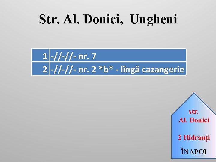 Str. Al. Donici, Ungheni 1 -//-//- nr. 7 2 -//-//- nr. 2 *b* -