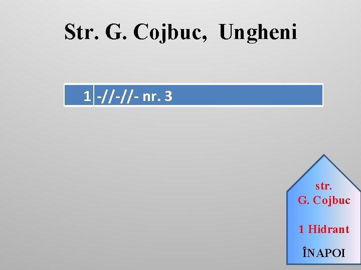 Str. G. Cojbuc, Ungheni 1 -//-//- nr. 3 str. G. Cojbuc 1 Hidrant ÎNAPOI