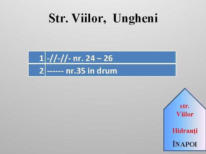 Str. Viilor, Ungheni 1 -//-//- nr. 24 – 26 2 ------ nr. 35 in