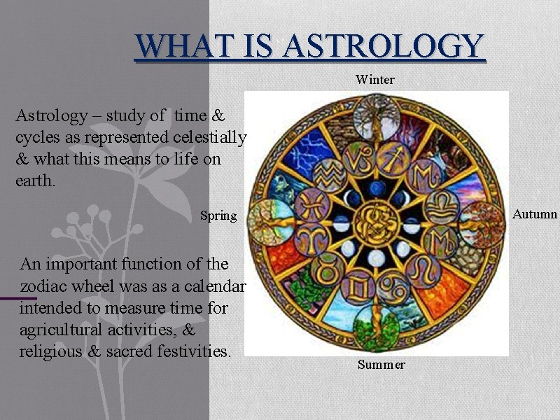 WHAT IS ASTROLOGY Winter Astrology – study of time & cycles as represented celestially