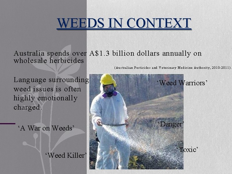 WEEDS IN CONTEXT Australia spends over A$1. 3 billion dollars annually on wholesale herbicides