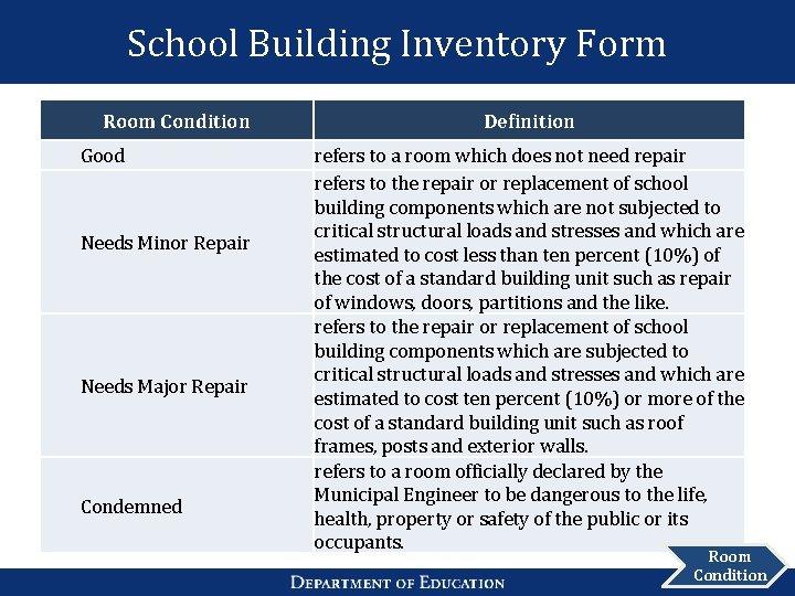 School Building Inventory Form Room Condition Good Needs Minor Repair Needs Major Repair Condemned