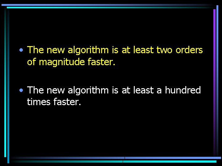 • The new algorithm is at least two orders of magnitude faster. •