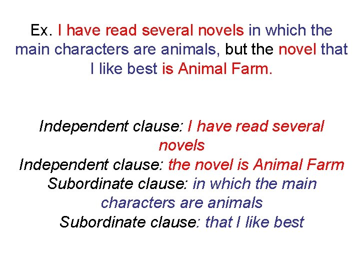 Ex. I have read several novels in which the main characters are animals, but