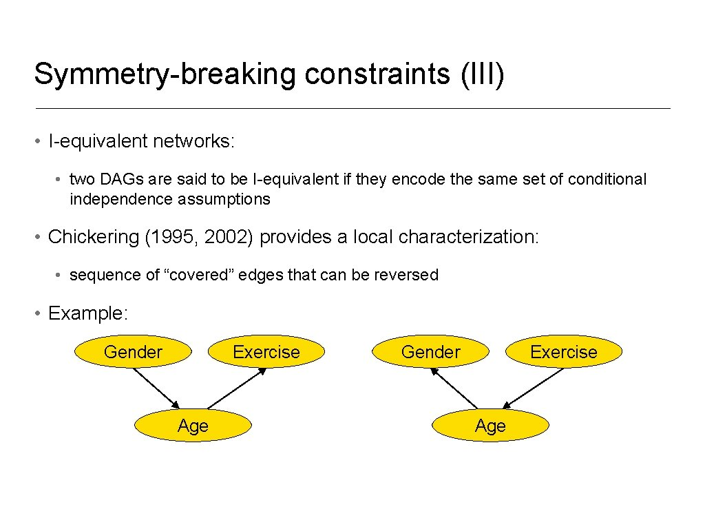Symmetry-breaking constraints (III) • I-equivalent networks: • two DAGs are said to be I-equivalent