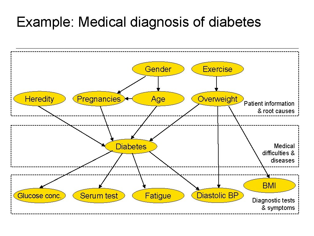 Example: Medical diagnosis of diabetes Heredity Gender Exercise Age Overweight Pregnancies Diabetes Patient information