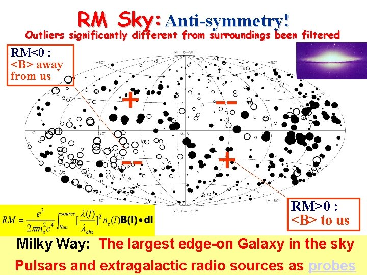 RM Sky: Anti-symmetry! Outliers significantly different from surroundings been filtered RM<0 : <B> away