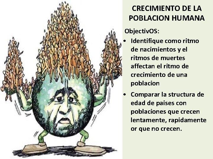 CRECIMIENTO DE LA POBLACION HUMANA Objectiv. OS: • Identifique como ritmo de nacimientos y