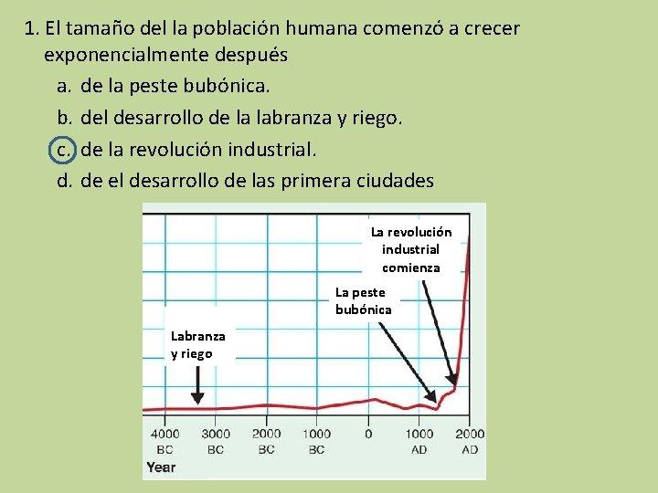 1. El tamaño del la población humana comenzó a crecer exponencialmente después a. de