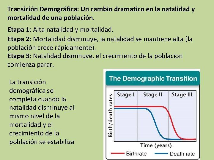 Transición Demográfica: Un cambio dramatico en la natalidad y mortalidad de una población. Etapa