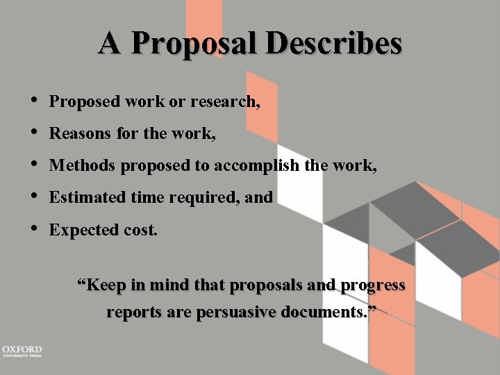 A Proposal Describes • • • Proposed work or research, Reasons for the work,