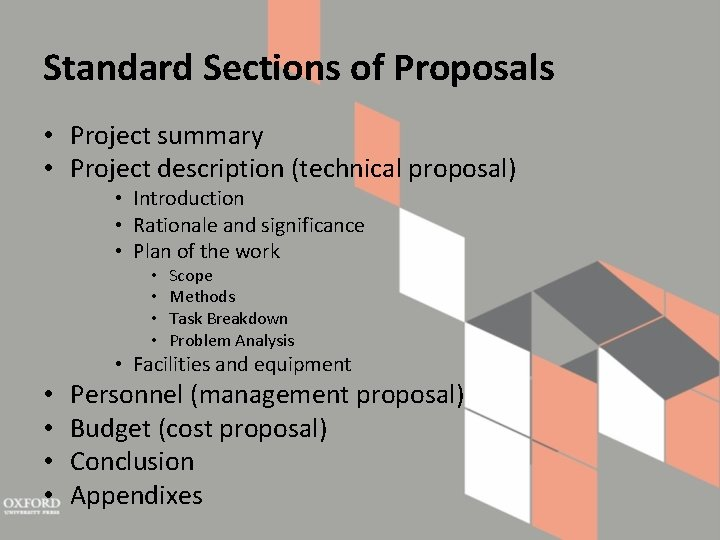 Standard Sections of Proposals • Project summary • Project description (technical proposal) • Introduction