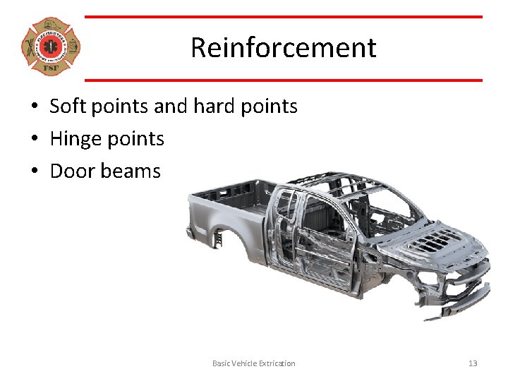 Reinforcement • Soft points and hard points • Hinge points • Door beams Basic