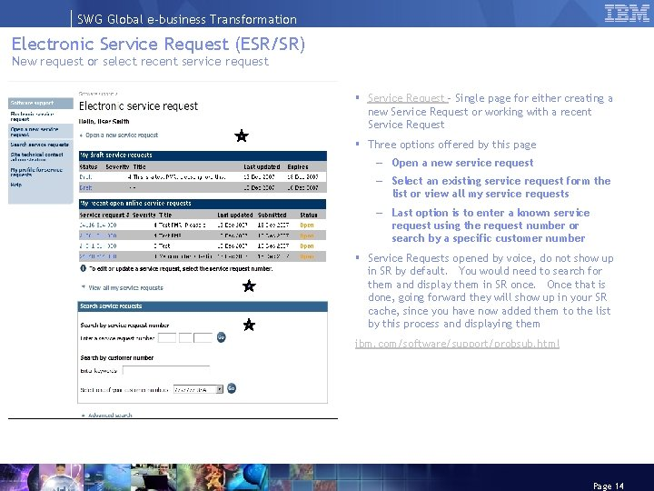 SWG Global e-business Transformation Electronic Service Request (ESR/SR) New request or select recent service