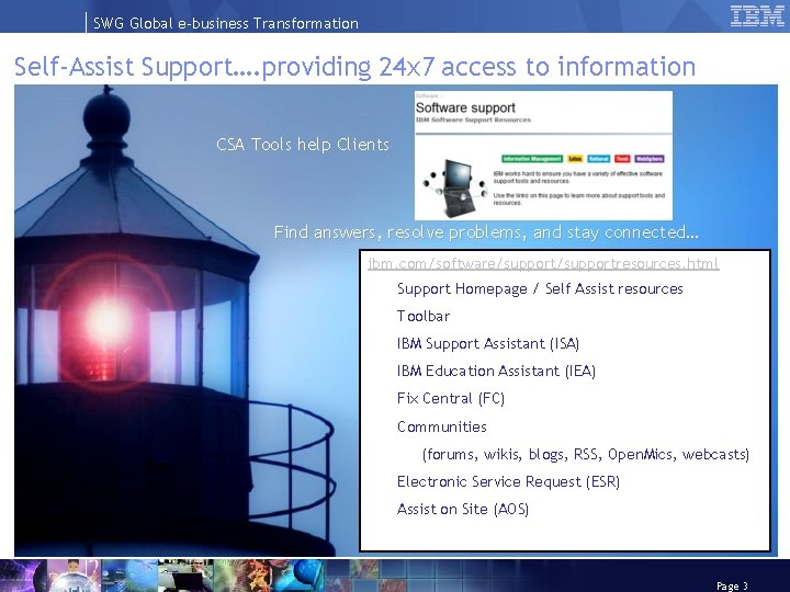SWG Global e-business Transformation Self-Assist Support…. providing 24 x 7 access to information CSA