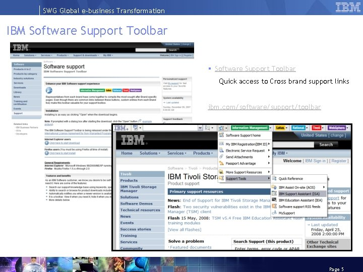 SWG Global e-business Transformation IBM Software Support Toolbar § Software Support Toolbar Quick access