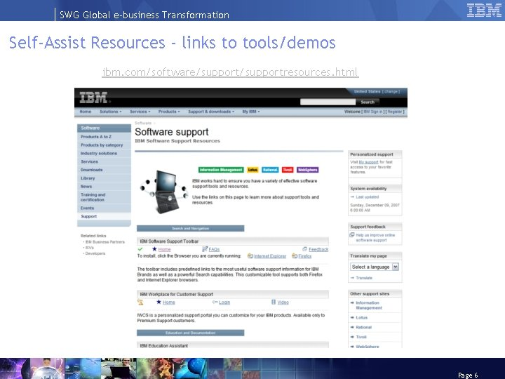 SWG Global e-business Transformation Self-Assist Resources - links to tools/demos ibm. com/software/supportresources. html Page