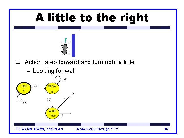 A little to the right q Action: step forward and turn right a little