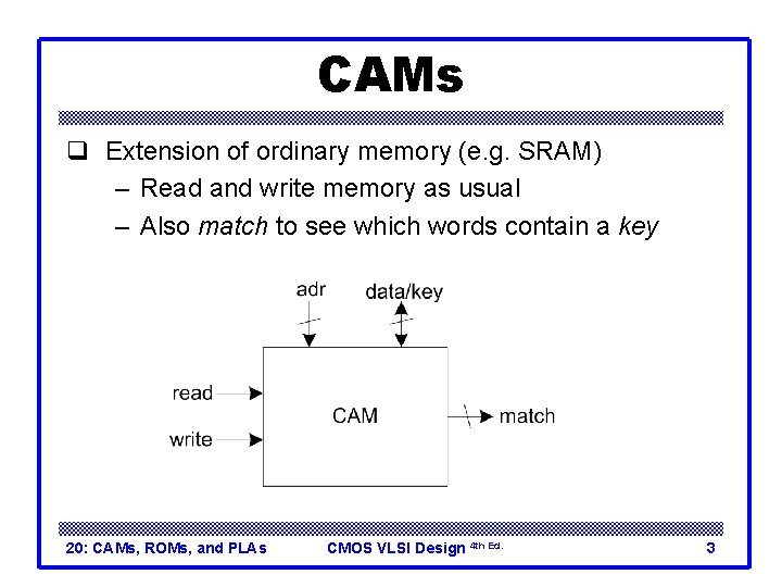 CAMs q Extension of ordinary memory (e. g. SRAM) – Read and write memory