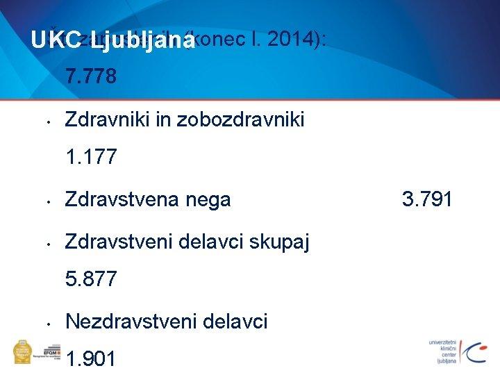 Št. zaposlenih (konec l. 2014): UKC Ljubljana 7. 778 • Zdravniki in zobozdravniki 1.