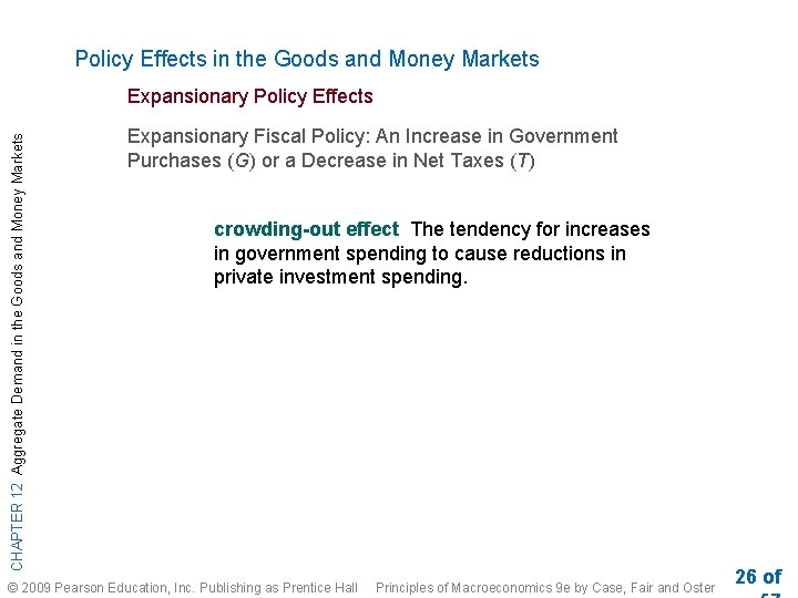 Policy Effects in the Goods and Money Markets CHAPTER 12 Aggregate Demand in the