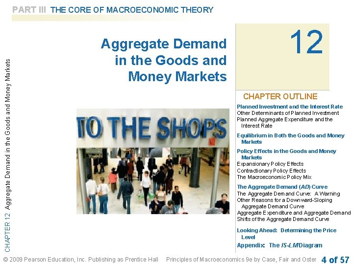 CHAPTER 12 Aggregate Demand in the Goods and Money Markets PART III THE CORE