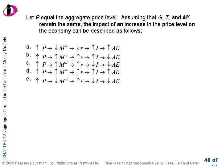 CHAPTER 12 Aggregate Demand in the Goods and Money Markets Let P equal the