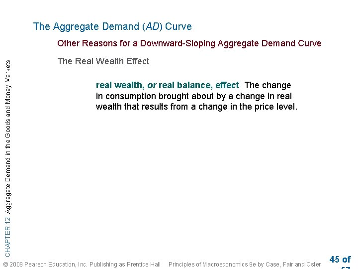 The Aggregate Demand (AD) Curve CHAPTER 12 Aggregate Demand in the Goods and Money