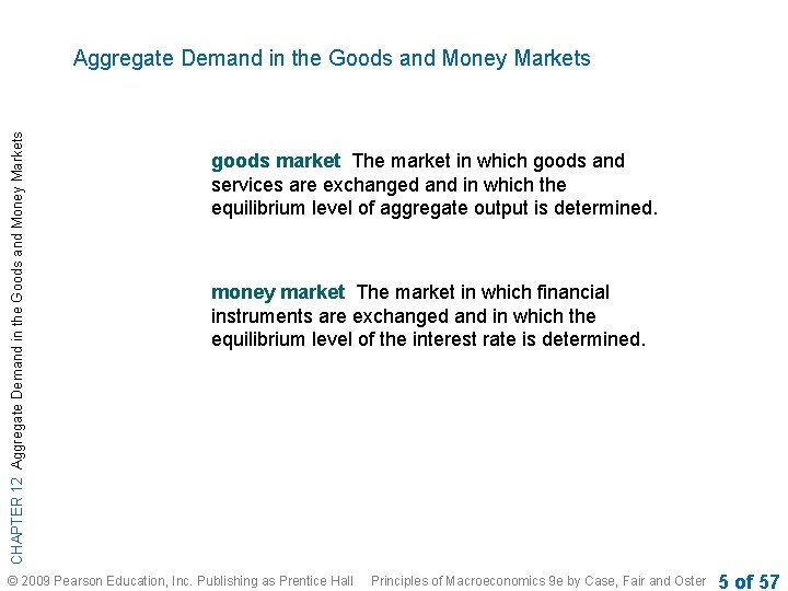CHAPTER 12 Aggregate Demand in the Goods and Money Markets goods market The market