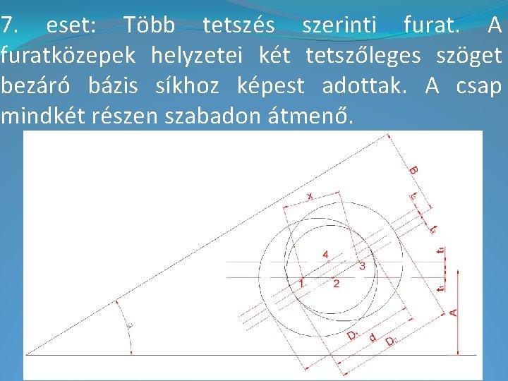 7. eset: Több tetszés szerinti furat. A furatközepek helyzetei két tetszőleges szöget bezáró bázis
