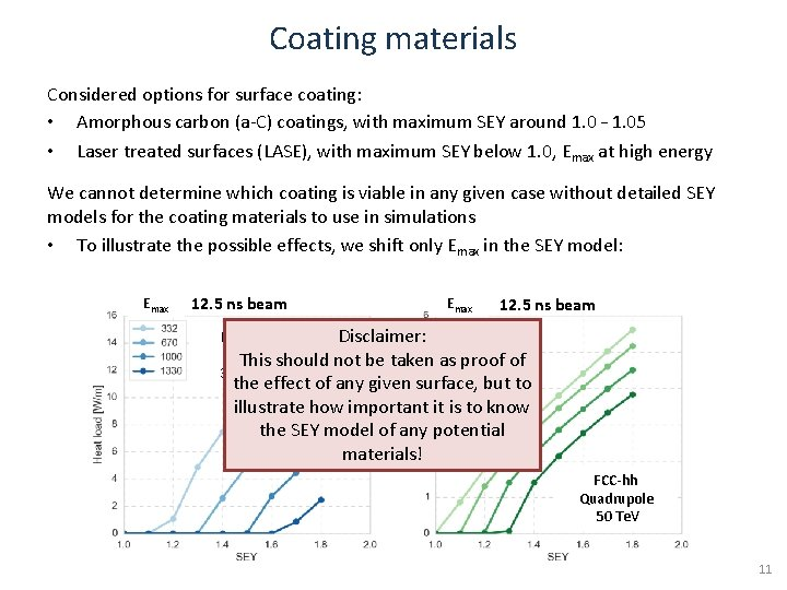 Coating materials Considered options for surface coating: • Amorphous carbon (a-C) coatings, with maximum