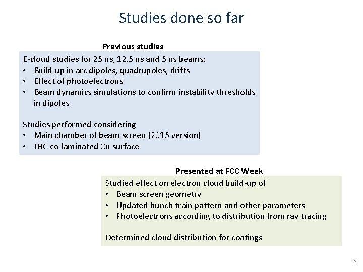 Studies done so far Previous studies E-cloud studies for 25 ns, 12. 5 ns