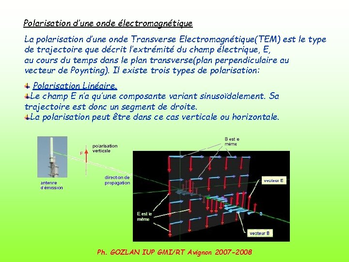 Polarisation d'une onde électromagnétique La polarisation d'une onde Transverse Electromagnétique(TEM) est le type de