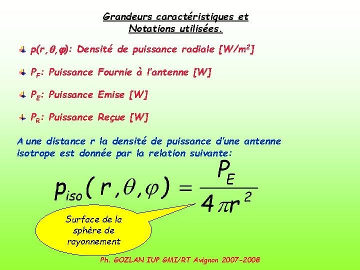 Grandeurs caractéristiques et Notations utilisées. p(r, q, j): Densité de puissance radiale [W/m 2]